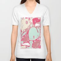 whales V-neck T-shirts featuring Whales by Amy Gale
