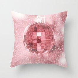 Pink Christmas Ball Throw Pillow