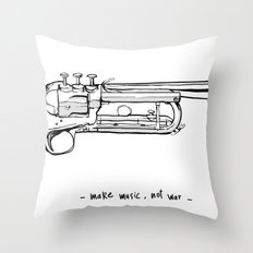 Make music, not war. Throw Pillow