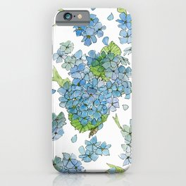 Blue Hydrangea Watercolor iPhone Case
