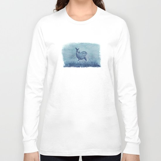 Notches Blue ~ Dolphin Watercolor, (Copyright 2013) Long Sleeve T-shirt