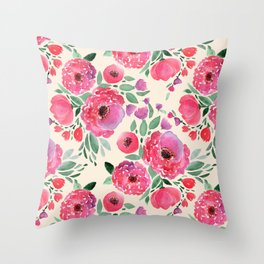 Pink-red flowers on beige. Throw Pillow