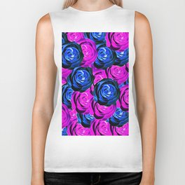 blooming rose texture pattern abstract background in pink and blue Biker Tank