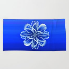 White Bloom on Blue Beach Towel