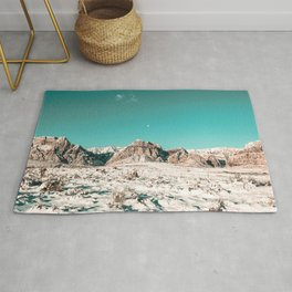 Vintage Picture Desert Snow // Winter Teal Blue Sky Red Rock Canyon Wilderness Park Photograph Rug