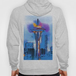 The Space Needle In Soft Abstract Hoody