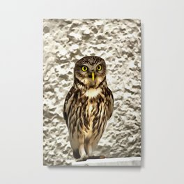 Small Owl In Camouflage Metal Print