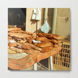 French bread on a french market in Grimaud in the south of France Metal Print