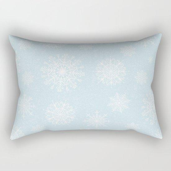 Assorted White Snowflakes On Light Blue Background Rectangular Pillow
