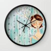 fawn Wall Clocks featuring Fawn by Allison Weeks Thomas