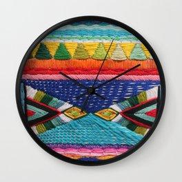 Rainbow Tribal Embroidery Wall Clock