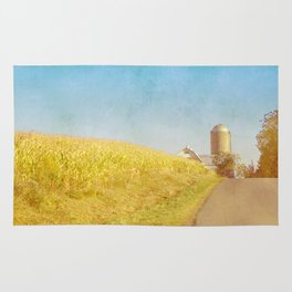 Golden Yellow Cornfield and Barn with Blue Sky Rug