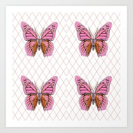 ABSTRACTED  PINK  BUTTERFLY MONARCHS  & WHITE PATTERN Art Print