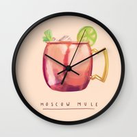 moscow Wall Clocks featuring Moscow Mule by Nan Lawson