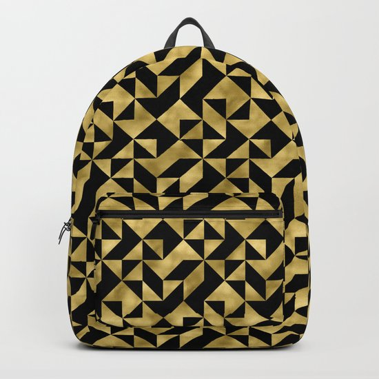 Black and gold geometric abstract pattern- Luxury design for your home Backpack