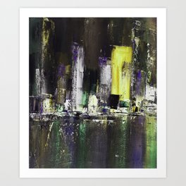 Abstract Cityscape  Town by night Art Print