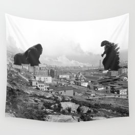 Old time Godzilla vs King Kong Reprised Wall Tapestry