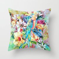 parrot Throw Pillows featuring PARROT by RIZA PEKER