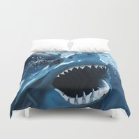 jaws Duvet Covers featuring Jaws by Dano77