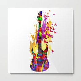 Colorful music instruments painting, abstract acoustic guitar with flying birds. Pop-art, digital. Metal Print