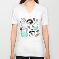 macaroons V-neck T-shirts featuring Sweet Tooth by chloesoe
