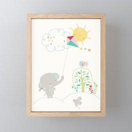 Elly + Milly Flying a Kite Framed Mini Art Print