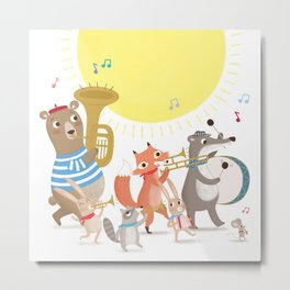 Children's Nursery Music Animal Band Metal Print