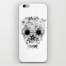 Skull Flowers grey - white iPhone & iPod Skin