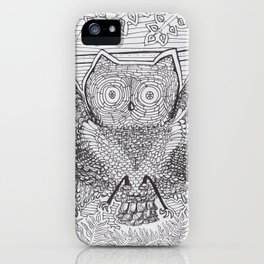 Adult Coloringbook Template Owl iPhone Case