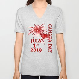 Canada Day 2019 with Fireworks Red Unisex V-Neck