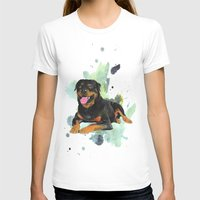 rottweiler T-shirts featuring Rottweiler happy by Cami Landia