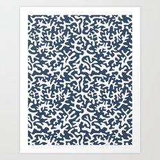 navy coral pattern Art Print