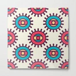 Eye In A Circle Boho Pattern Metal Print