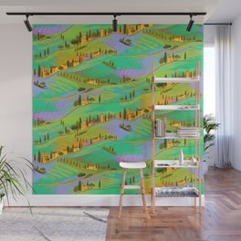 Italian vacations, pattern with Tuscany landscapes Wall Mural