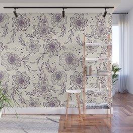 Dahlia Flowers Line Art Pattern - Purple and Cream Wall Mural