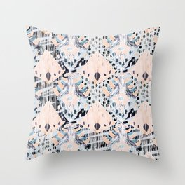 watercolor IKAT collage, mixed media, pastel pattern, pink, indigo, grey, black, sky blue Throw Pillow