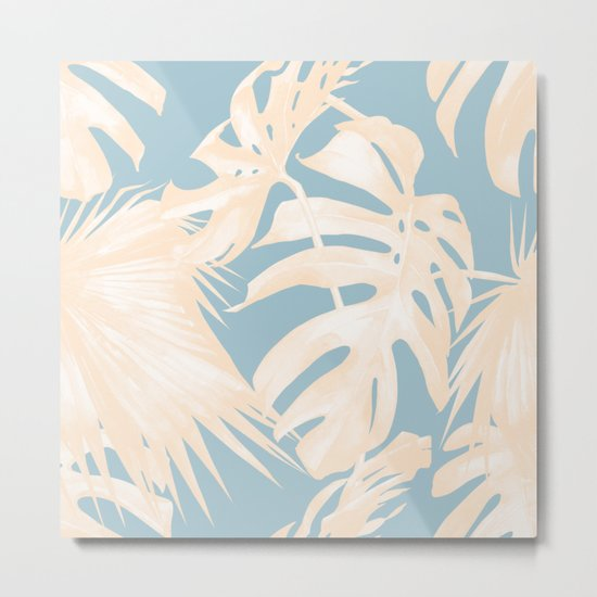 Island Vacay Hibiscus Palm Pale Coral Sky Blue Metal Print