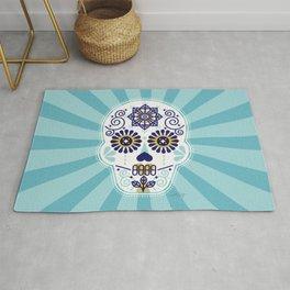 Día de Muertos • Mexican Sugar Skull – Baby Blue Palette Rug