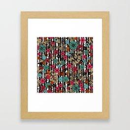 Floral pattern on black and white striped background Framed Art Print
