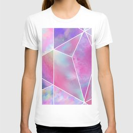 Geometrical abstract pink teal lilac watercolor stripes triangles T-shirt