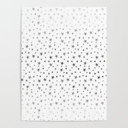 Mini Stars - Silver on White Poster