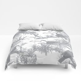 Toucans and Bromeliads - Sharkskin Grey Comforters