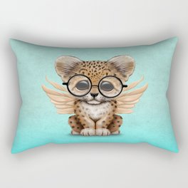 Cute Leopard Cub Fairy Wearing Glasses on Blue Rectangular Pillow