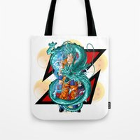 dbz Tote Bags featuring DBZ - A Hero by Mr. Stonebanks