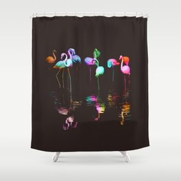 Rainbow Flamingos Shower Curtain