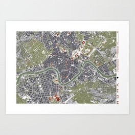 Rome city map engraving Art Print