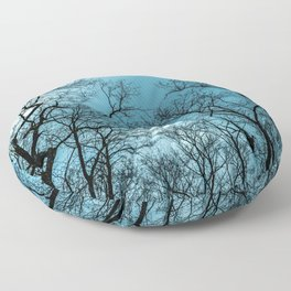 Cloudy sky, naked trees Floor Pillow