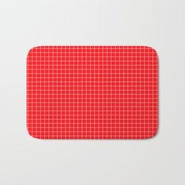 Red Grid White Line Bath Mat