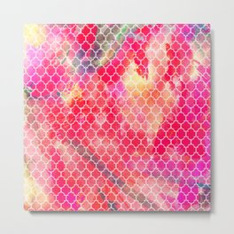 Modern Quatrefoil Abstract Red Yellow Watercolor Metal Print