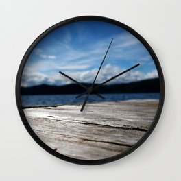 Lake Side View From a Dock Wall Clock